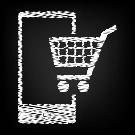 shoping: Shoping on smart phone sign. Scribble effect on black background