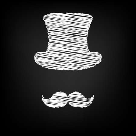 masculinity: Hipster style accessories design. Scribble effect on black background Illustration