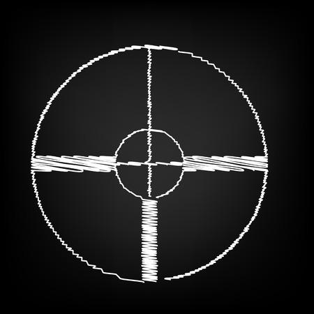 crosshair: Crosshair Target sign. Scribble effect on black background