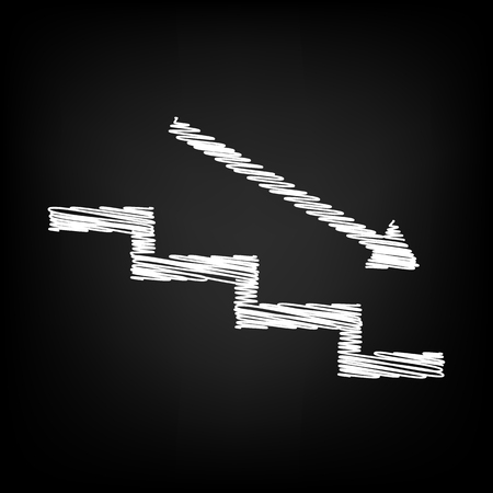 high way: Stair down with arrow. Scribble effect on black background