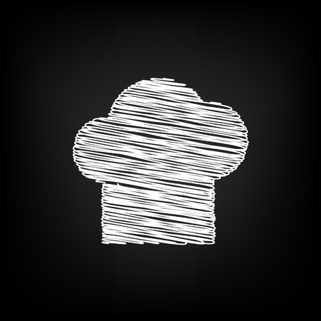 replaceable: Chef cap sign. Scribble effect on black background