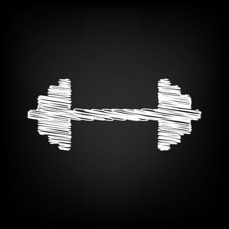heavy load: Dumbbell weights sign. Scribble effect on black background Illustration
