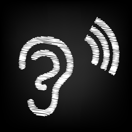 listener: Human ear sign. Scribble effect on black background