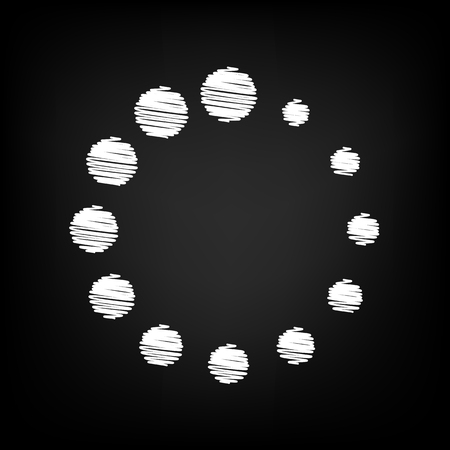 Circular loading sign. Scribble effect on black background