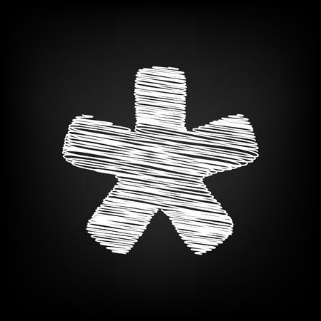 Asterisk star sign. Scribble effect on black background