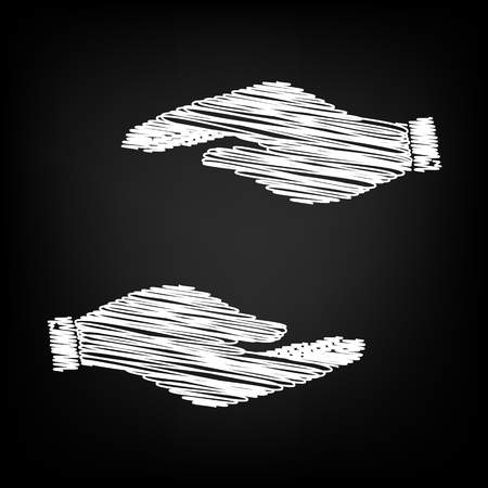 www arm: Hand sign. Scribble effect on black background