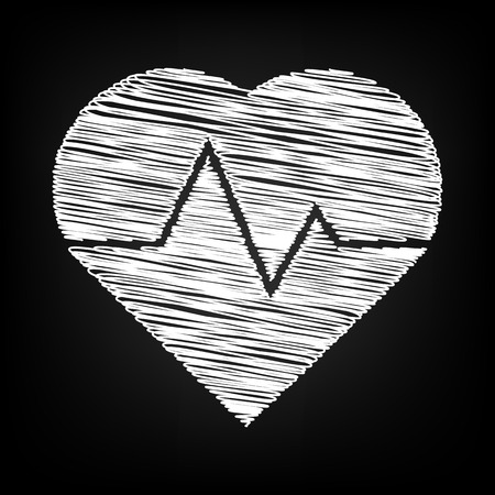 cardiograph: Heartbeat sign. Scribble effect on black background Illustration