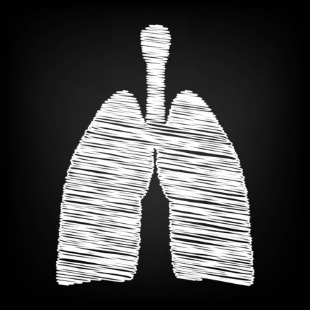 pulmones: Human organs. Lungs sign. Scribble effect on black background