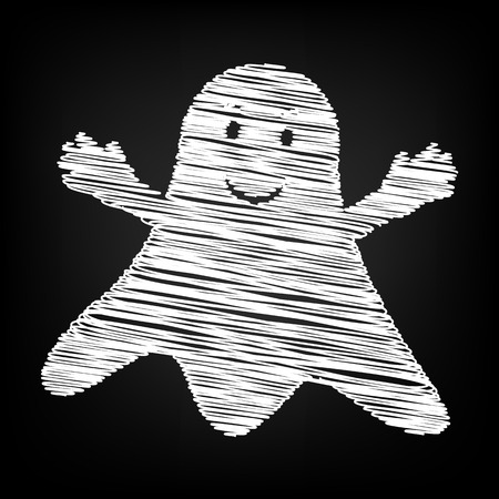 ghastly: Ghost isolated sign. Scribble effect on black background