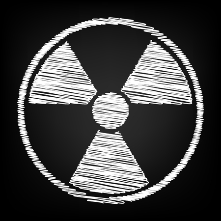 Radiation Round sign. Scribble effect on black background Illustration