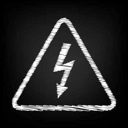 volte: High voltage danger sign. Scribble effect on black background