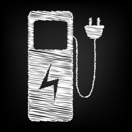 zero emission: Electric car charging station sign. Scribble effect on black background Illustration