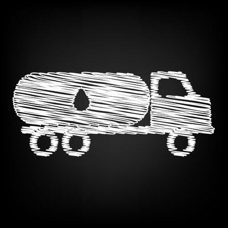 fabrication: Car transports Oil sign. Scribble effect on black background Illustration