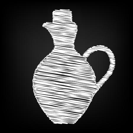 amphora: Amphora sign. Scribble effect on black background Illustration