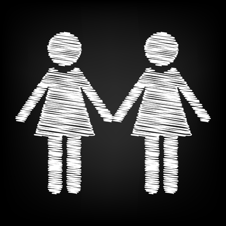 black family: Lesbian family sign. Scribble effect on black background
