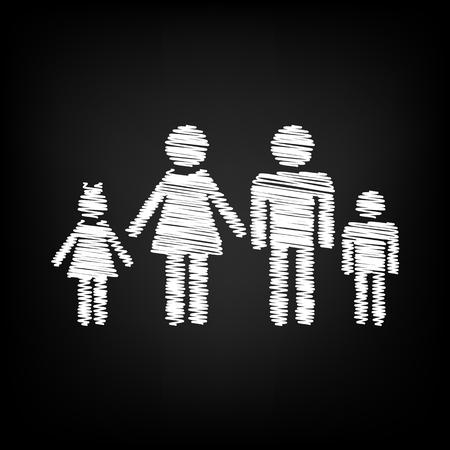black family: Family sign. Scribble effect on black background