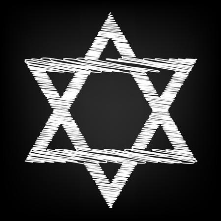 hexagram: Star. Shield Magen David. Symbol of Israel Scribble effect on black background