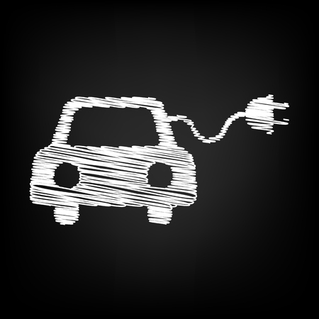 echnology: Eco electrocar sign. Scribble effect on black background