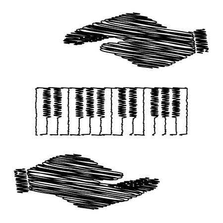 acoustically: Piano Keyboard  sign. Save or protect symbol by hands with scribble effect.