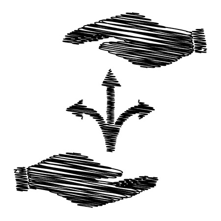 three points: Three-way direction arrow sign. Save or protect symbol by hands with scribble effect.