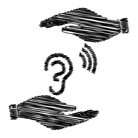 listener: Human ear sign. Save or protect symbol by hands with scribble effect.