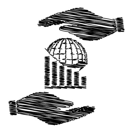 stock market crash: Declining graph  with earth. Save or protect symbol by hands with scribble effect.