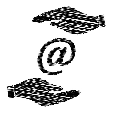 e new: Mail sign. Save or protect symbol by hands with scribble effect.