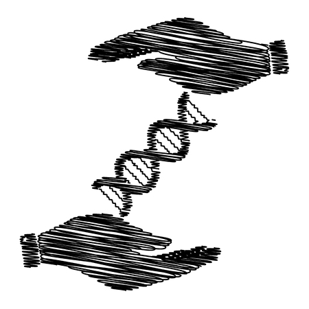 heredity: The dna sign. Save or protect symbol by hands with scribble effect.
