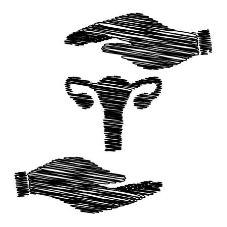 testiculos: Anatomía del cuerpo humano. signo útero. Salvar o proteger el símbolo de las manos con efecto garabato.