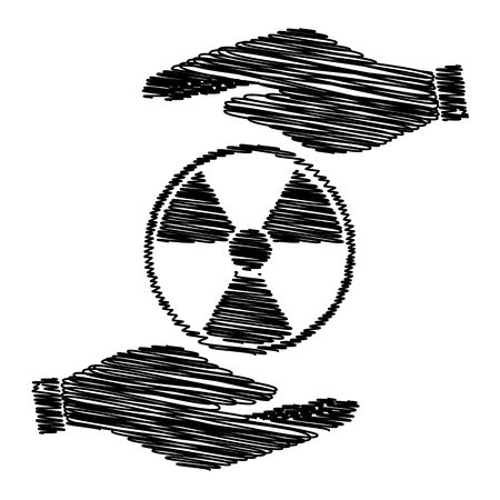 environmental hazard: Radiation Round sign. Save or protect symbol by hands with scribble effect. Illustration