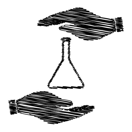 conical: Conical Flask sign. Save or protect symbol by hands with scribble effect.