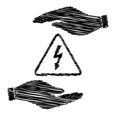 volte: High voltage danger sign. Save or protect symbol by hands with scribble effect.