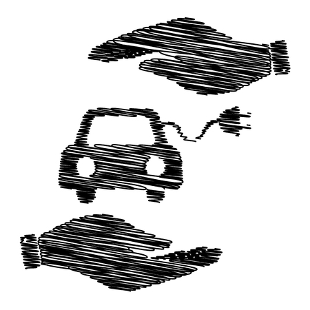 automobile industry: Eco electrocar sign. Save or protect symbol by hands with scribble effect. Illustration