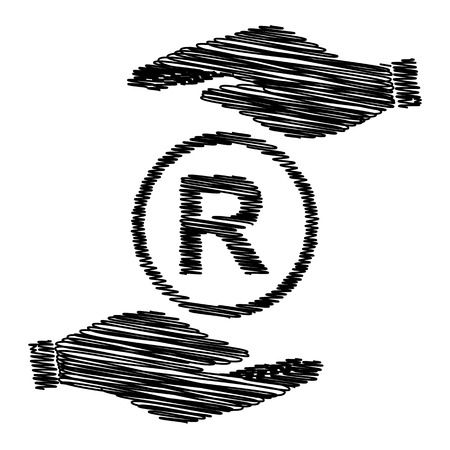 duplication: Registered Trademark sign. Save or protect symbol by hands with scribble effect.
