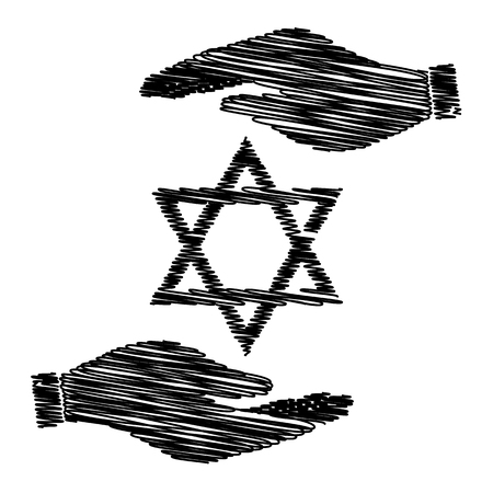 magen: Star. Shield Magen David Symbol of Israel Illustration