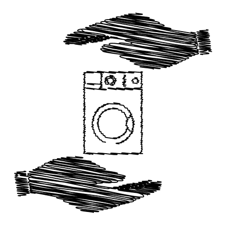 major household appliance: Washing machine sign. Save or protect symbol by hands with scribble effect.
