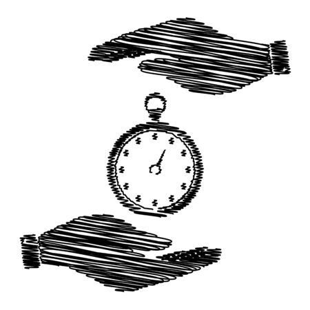 analogue: Stopwatch sign. Save or protect symbol by hands with scribble effect.