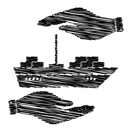 ship sign: Ship sign. Save or protect symbol by hands with scribble effect.