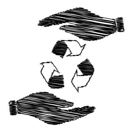 recycle logo: Recycle logo concept. Save or protect symbol by hands with scribble effect.
