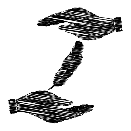 a poet: Feather sign. Save or protect symbol by hands with scribble effect.