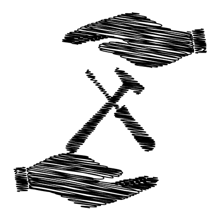 turn screw: Tools sign. Save or protect symbol by hands with scribble effect. Illustration