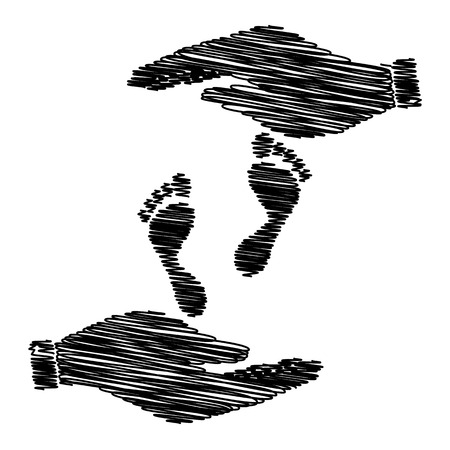 commit: Foot prints sign. Save or protect symbol by hands with scribble effect. Illustration