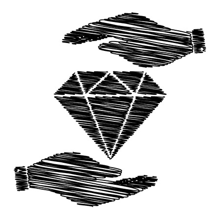Diamond sign. Save or protect symbol by hands with scribble effect.