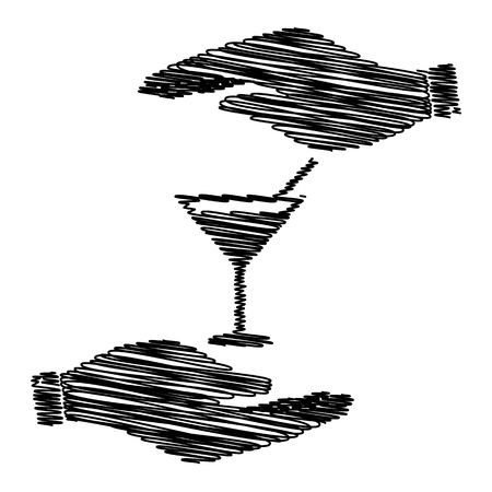coctail: Coctail sign. Save or protect symbol by hands with scribble effect.
