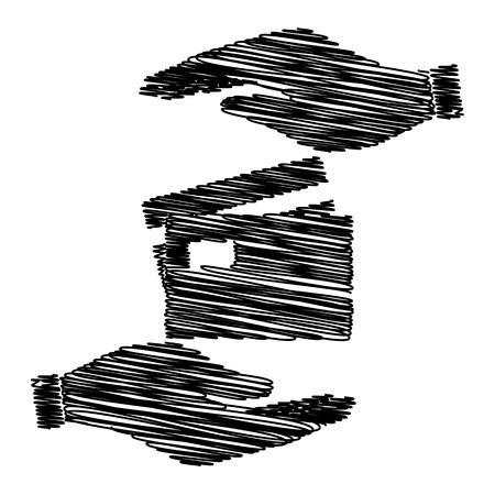 transact: Credit Card sign. Save or protect symbol by hands with scribble effect.