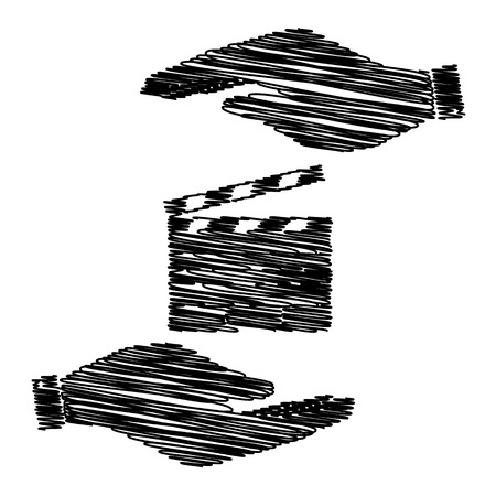 clap board: Film clap board cinema sign. Save or protect symbol by hands with scribble effect. Illustration