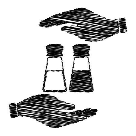 pepper grinder: Salt and pepper sign. Save or protect symbol by hands with scribble effect. Illustration