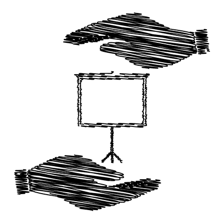 projection: Blank Projection screen. Save or protect symbol by hands with scribble effect. Illustration