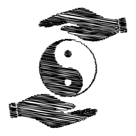 yang style: Ying yang symbol of harmony and balance. Flat style icon. Black vector illustration. Illustration
