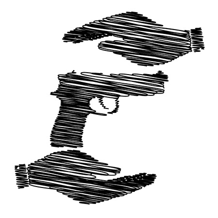 dangerous weapons: Gun sign. Save or protect symbol by hands with scribble effect. Illustration